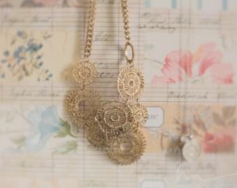 nostalgic photograph, dreamy romantic still life, vintage pastel wallpaper gold necklace, large bedroom bathroom wall art, lifestyle