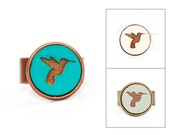 Hummingbird Ring - Laser Cut - Engraved Wood in Adjustable Setting (Choose Your Color / Made To Order)