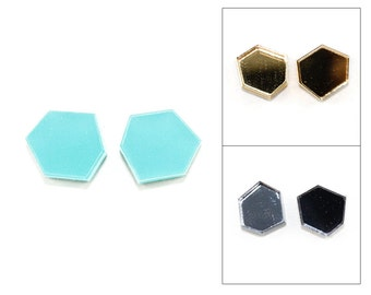 Geometric Facet Shape Acrylic Post Earrings - Laser Cut Jewelry (Choose Turquoise, Mirror Gold or Mirror Pewter)