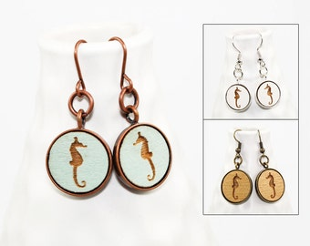 Seahorse Dangle Earrings - Laser Engraved Wood (Choose Your Color)