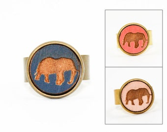 Elephant Ring - Laser Cut - Engraved Wood in Adjustable Setting (Choose Your Color / Made To Order)