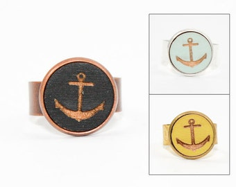 Anchor Ring - Engraved Wood in Adjustable Setting (Choose Your Color / Made To Order)