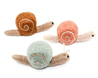 Needle Felted Snail - Handmade Garden Creature (choose: pale pink, sea foam, or brown)