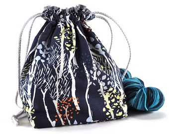 Knitting Crochet Project Bag *with yarn guide* - Midnight