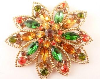 Huge Vintage Openwork Colored Rhinestone Flower Brooch by Hobe