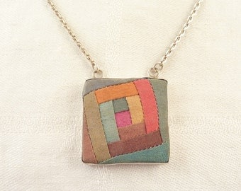 SALE ----  and Signed Vintage Sterling and Colored Fabric Square Necklace on Extra Long Chain