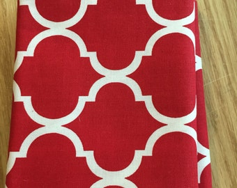 Red and white fabric, cotton print. quilting, sewing,  Half-yard