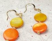 ON SALE 20% OFF Orange and Yellow Mother of Pearl shell earrings, Halloween earrings, Candy Corn earrings, Holiday earrings