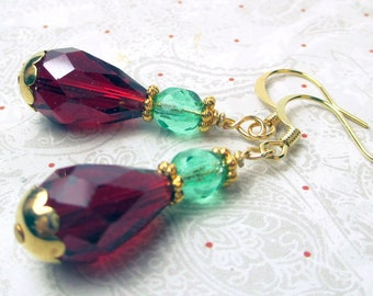 Red Teardrop crystal and green christmas earrings, christmas earrings, red earrings, green earrings, holiday earrings teardrops gold spacers