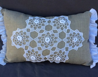 Linen and vintage lace pillow.