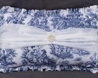 Cottage Chic Toile Decorative Pillow Navy Blue