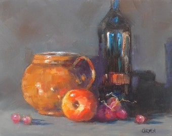 Copper Pot with Apple, 10x8, Original Oil Painting Still Life, Daily Painting with Bottle and Pot