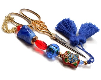 Beaded Scissor Fob Red Blue Cloisonne Turtle Quilting Sewing Needlepoint Cross Stitch Gift for Crafter DIY Crafts