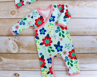 Girl Take Home Outfit - Baby  Girl Going Home Outfit - Girl Kimono Romper - Baby Girl Coming Home Set - Baby Girl Set - Mint Girl Clothing