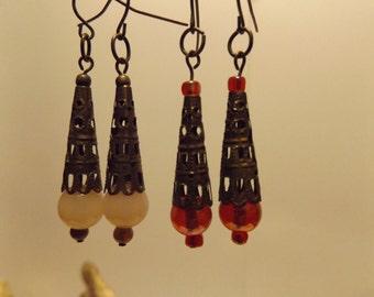 Dangel Earrings, Glass Bead Earrings, Antique Style,