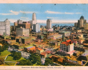 Vintage Postcard of Toronto - Downtown Business Section - 1942 Old Toronto Postcard - Memorabilia