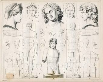 1852 Antique Print on the Graphic Arts - Drawing Heads and Torsos - Plate 21