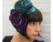 Purple and teal vintage recycled fabric antique lace flower headpiece