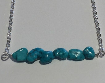Delicate sterling silver chain with turquoise gemstones
