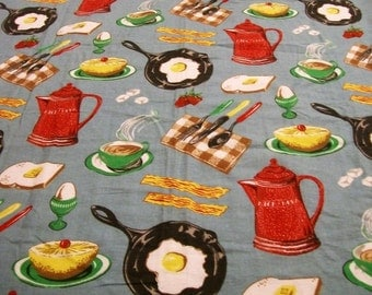 Vintage Flannel Fabric, Breakfast Time, Flannel Fabric, American Genius & Co., Unique Fabric