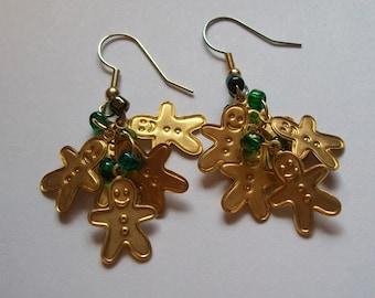 Christmas Earrings, Gingerbeard Man Earrings, Cluster Earrings, Christmas Earrings, Gold Earrings, Dangle Christmas Earrings