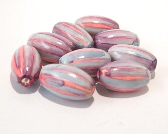 Polymer Clay Pink and Blue Oval Beads - Handmade