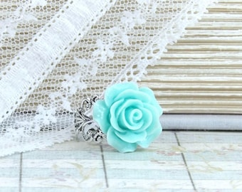 Blue Rose Ring Aqua Rose Ring Blue Flower Ring Adjustable Ring Blue Rose Jewelry Victorian Ring