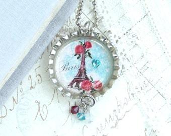Eiffel Tower Pendant Paris Necklace Shabby Chic Necklace Eiffel Tower Necklace Bottle Cap Necklace