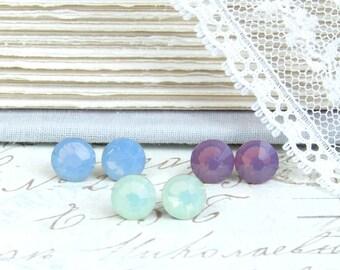 Pastel Studs Earring Set Set Of Three Earrings Crystal Studs Set Hypoallergenic Crystal Stud Earrings