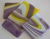 Purple Yellow Pansy Swirl Fused Glass Coasters