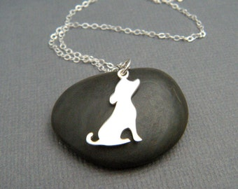 """small silver dog silhouette necklace. sterling silver pet pride pendant. simple canine charm side portrait. gift animal lover jewelry 3/4"""""""