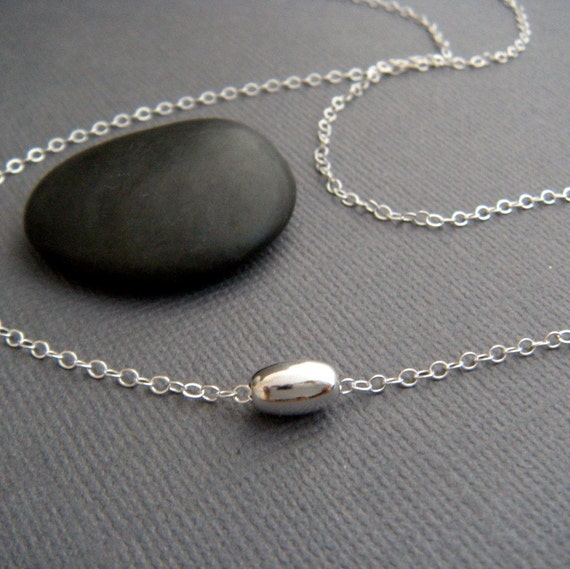 tiny sterling silver oval bead necklace. small petite delicate dainty. layering. layered. everyday simple jewelry. 16 inch. gift for her