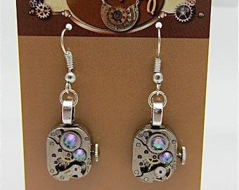 Steampunk ear gear - smokey A/B- Steampunk Earrings - Repurposed art