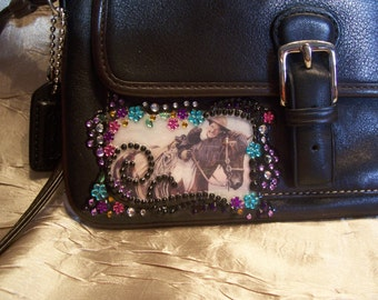 Black Leather Wristlet Purse with Vintage Cowgirl on her Horse and Crystals
