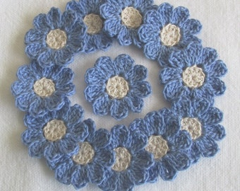 Periwinkle Blue Crochet Flowers for Scrapbooks or Sewing, 12 Handmade Appliques