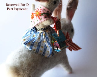 Reserved for D Part Payment 1 Original Animal Needle Felted Dear Bunnies With Tiny House