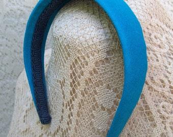 linen headband turquoise traditional