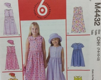 Mccalls M4432 Girls Dress and Hat Pattern Girls sizes 7 8 10 12  Easy Pattern Summer Dress
