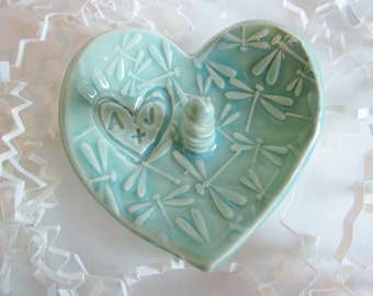 Personalized ceramic ring holder, ring dish, Wedding ring holder, heart shaped ring dish