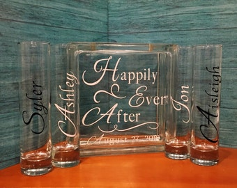 Family Blended Unity Sand Ceremony Glass Containers - Glass Block with Happily Ever After - Personalized with your Wedding Date - 4 sides