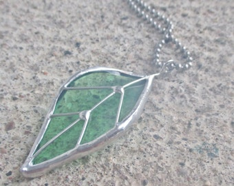 Elm Green Leaf Pendant - Upcycled Glass Jewelry