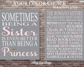 Personalized Sisters Sign, Princess Art, Sometimes Being A Sister, Princess Wall Art, Printable Art, DOWNLOAD Art, Big Sister Art, Sisters