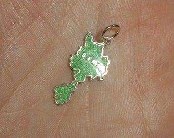 SALE Sterling silver travel charm green enamel Sark Thomas L Mott TLM vintage for bracelet