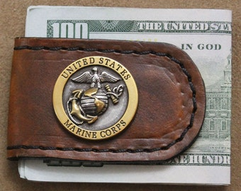 Handcrafted Brown Leather Money Clip with Two Tone USMC Concho
