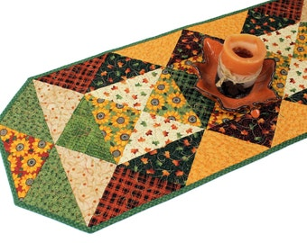 Quilted Autumn Table Runner, Sunflowers Thanksgiving Quilt, Fall Quilt, Gold and Brown table decor