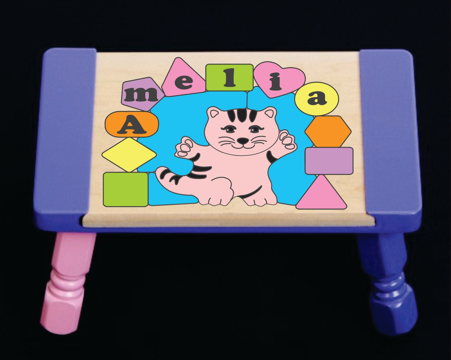 Personalized Name Cat Theme Children Puzzle Step Stool