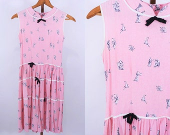 1950s dress vintage 50s pink Greek statues novelty print tiered teen dress S W 27""