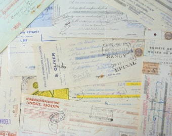 Vintage Antique French Receipts 3  Pieces Typed & Handwritten 1930's  - 1950s France Paper Ephemera