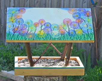 Persnickety Bird Feeder - Covered Bridge Style Open Air Bird Feeder - Multicolor Spring Wild Flowers - Reclaimed Wood & Branches Bird Feeder