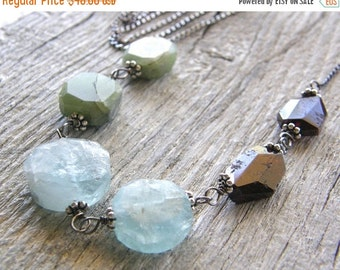 Summer Sale Peridot, Aquamarine, and Garnet Colorblock Necklace, Extra Long Sterling Silver Necklace